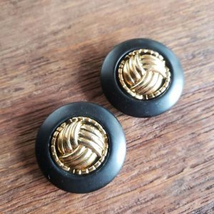 No.4/ブラック×ゴールド/2.8cm/レトロボタン・2個セット