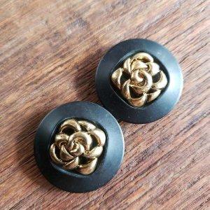 No.5/ブラック×ゴールド/2.8cm/レトロボタン・2個セット