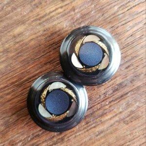 No.9/ネイビー・シェルゴールド/2.4cm/レトロボタン・2個セット