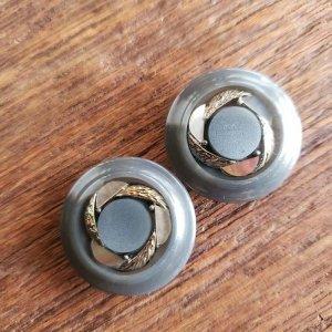 No.9/グレー・シェルシルバー/2.4cm/レトロボタン・2個セット