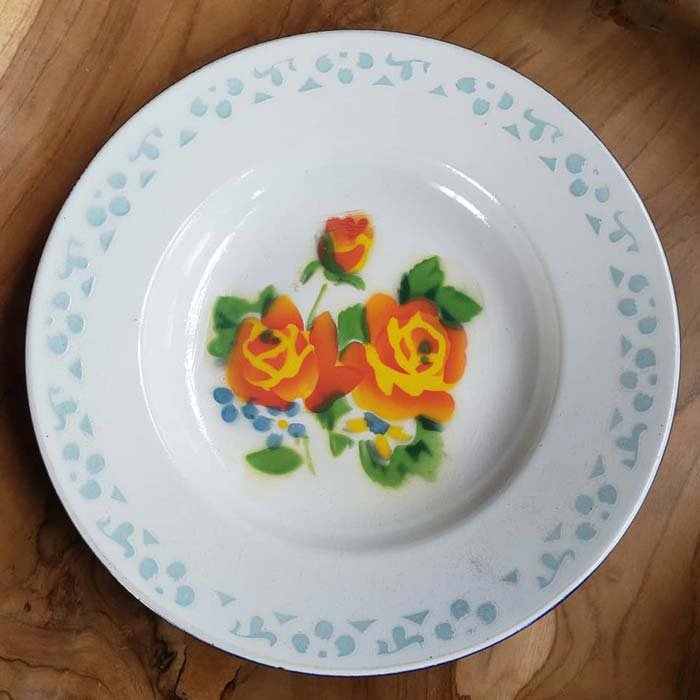 ホーロー・プレート・花柄・レトロ皿・ベトナム メインイメージ