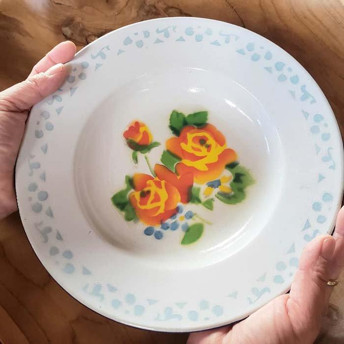 ホーロー・プレート・花柄・レトロ皿・ベトナム サブイメージ