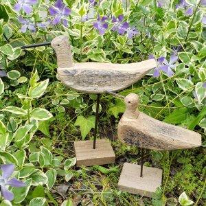 アンティーク調・木製あひる親子ペアセット(親1&子1の2個セット)