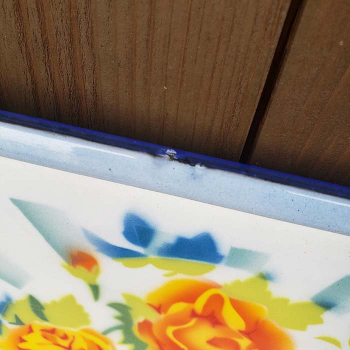 ベトナム・ホーロー・レトロ花柄・トレイ サブイメージ