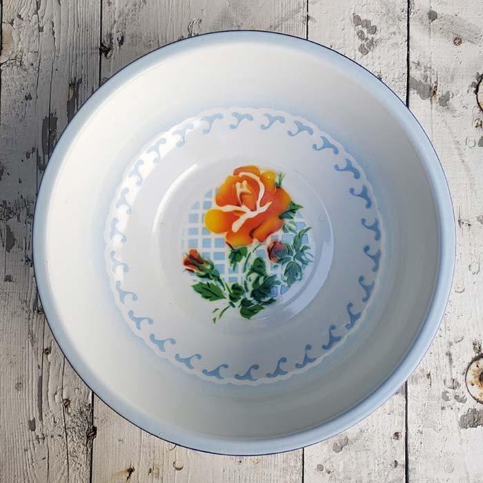 ベトナム・ホーロー・レトロ花柄・洗面器 メインイメージ