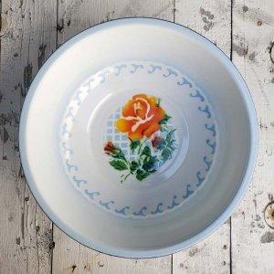 ベトナム・ホーロー・レトロ花柄・洗面器