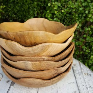 インドネシア・チーク・WOOD・木製ナチュラルボウル・ウッドプレート
