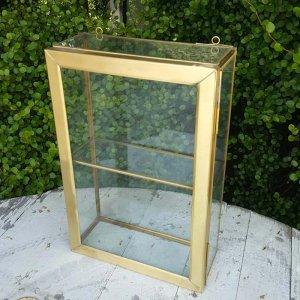 真鍮・アンティーク加工・ガラスケース・ガラスボックス・ジュエリーショーケース(L)