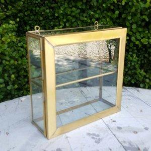真鍮・アンティーク加工・ガラスケース・ガラスボックス・ジュエリーショーケース(M)