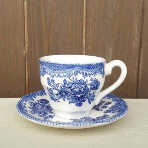 イギリス・カップ&ソーサー・ブルー花柄・ブロカント
