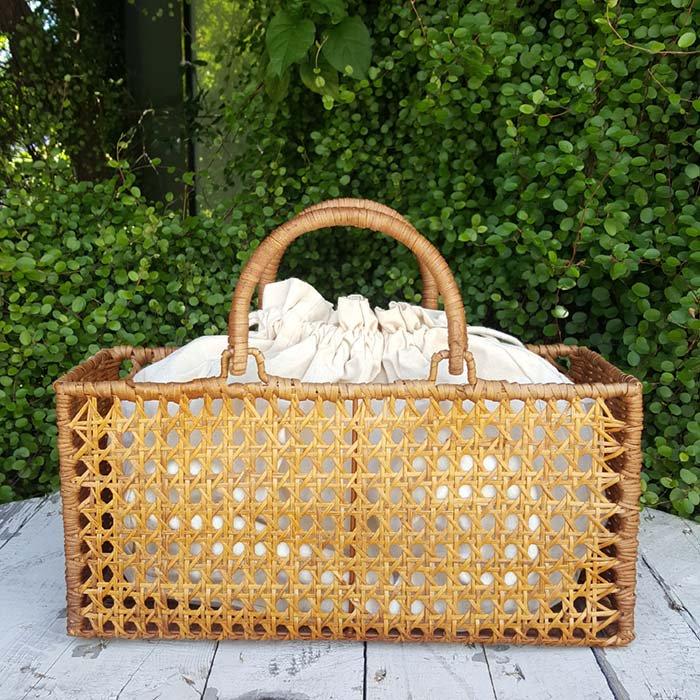 ラタンカゴバッグ・飾り編み・袋つき・ナチュラルカゴ・ベトナム メインイメージ