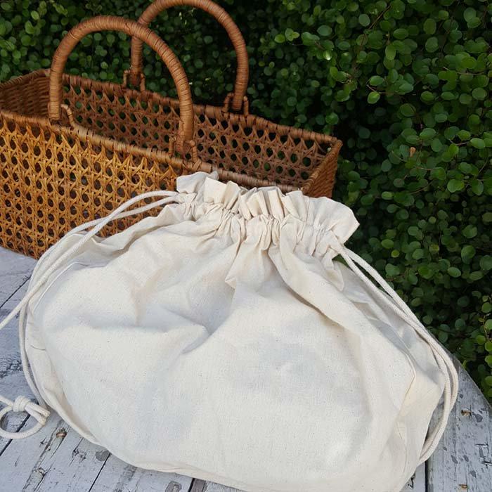 ラタンカゴバッグ・飾り編み・袋つき・ナチュラルカゴ・ベトナム サブイメージ