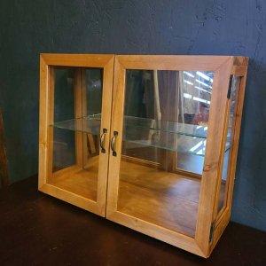 ガラス2段棚・ガラスケース・木製棚・ディスプレイ棚