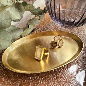 真鍮・ブラストレイ・オーバル型トレイ・アクセサリートレイ
