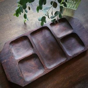 木製トレイ・ウッドトレイ・仕切りケース・インド