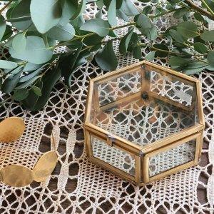 真鍮ガラス・アクセサリーボックス・(M)・アンティーク加工ガラスケース