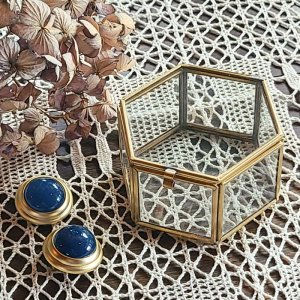 真鍮ガラス・アクセサリーボックス・(S)・アンティーク加工ガラスケース