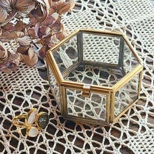 真鍮ガラス・アクセサリーボックス・(SS)・アンティーク加工ガラスケース