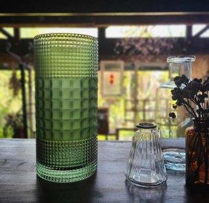 フォレストグリーン・シリンダー型・ガラスフラワーベース