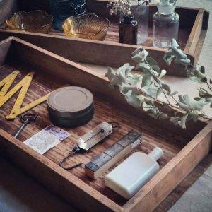 昭和レトロ木箱・箱トレイ・古道具