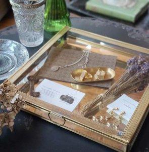 真鍮・ブラス・スクエア・ガラスケース・レトロケース