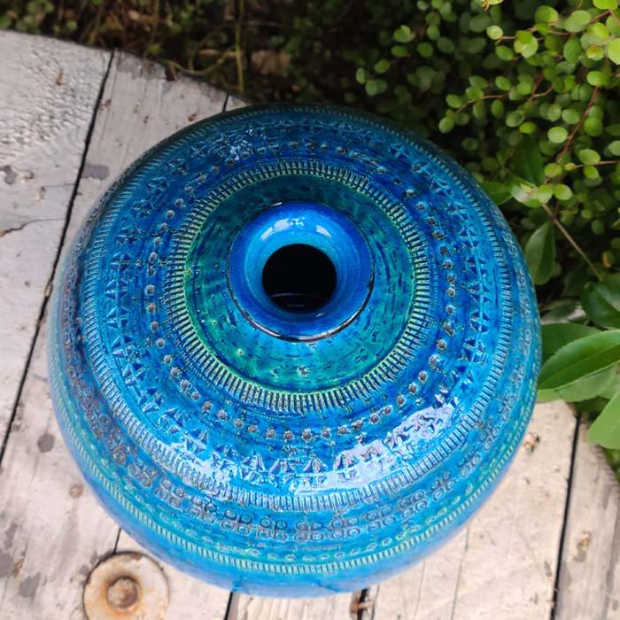 ビトッシ・フラビア(FLAVIA)・リミニブルー・丸フラワーベース・陶器・イタリア サブイメージ