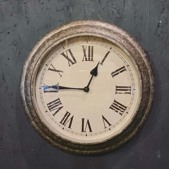 シルバー・ウォールクロック・壁掛け時計・アンティーク風クロック サブイメージ