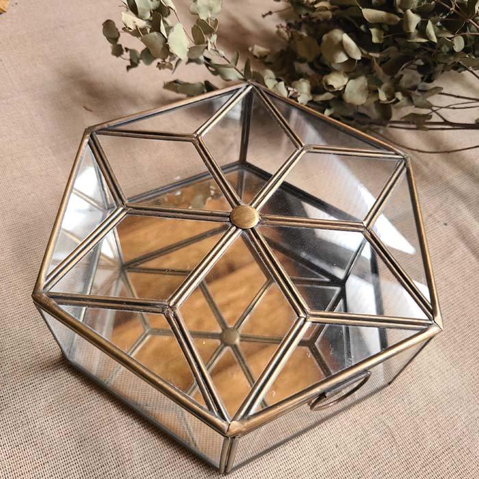 ブラス・六角形ガラスケース・ミラーケース(L) メインイメージ