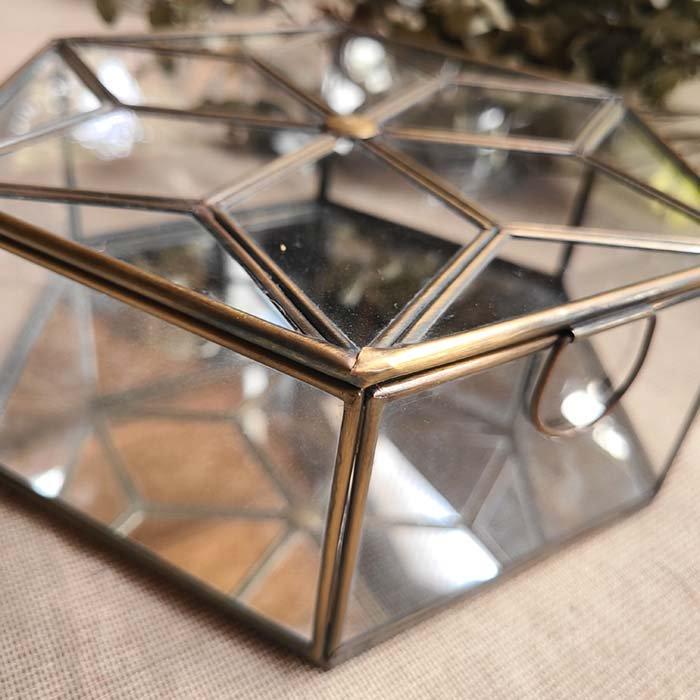 ブラス・六角形ガラスケース・ミラーケース(L) サブイメージ