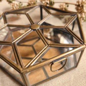 ブラス・六角形ガラスケース・ミラーケース(S)