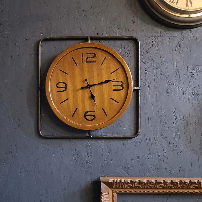 木製・インダストリアル風・ウォールクロック・壁掛け時計 メインイメージ