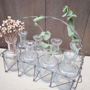 ガラスボトル8個数つきワイヤーホルダー・フラワーベース