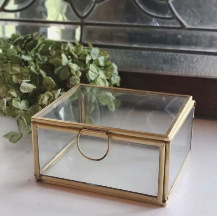 真鍮・ブラス・アクセサリーボックス・スクエア(L)ガラスケース メインイメージ