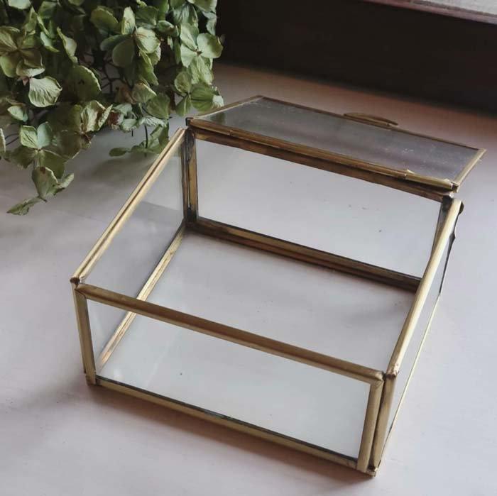真鍮・ブラス・アクセサリーボックス・スクエア(L)ガラスケース サブイメージ