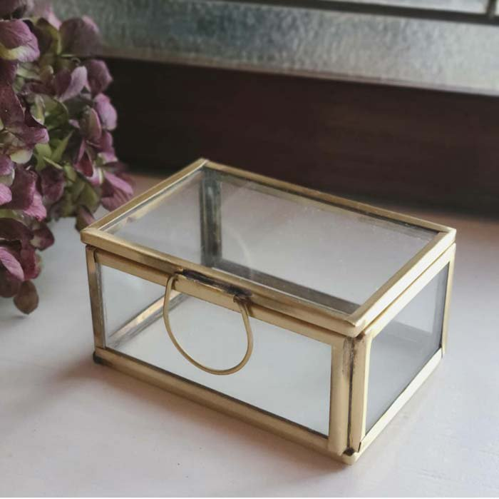 真鍮・ブラス・アクセサリーボックス・スクエア(M)ガラスケース メインイメージ