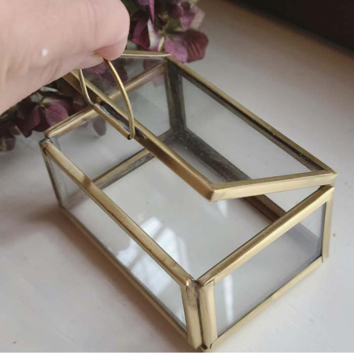 真鍮・ブラス・アクセサリーボックス・スクエア(M)ガラスケース サブイメージ
