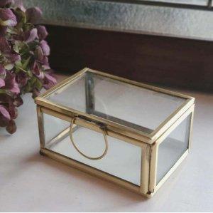 真鍮・ブラス・アクセサリーボックス・スクエア(M)ガラスケース