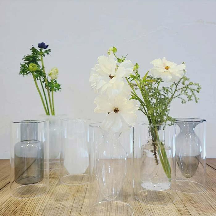 ダブルガラス・フラワーベース・3デザイン・花瓶・花器・クリア・グレー・ホワイト メインイメージ