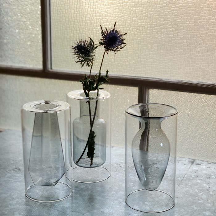 ダブルガラス・フラワーベース・3デザイン・花瓶・花器・クリア・グレー・ホワイト サブイメージ