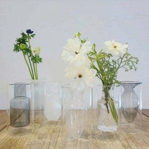 ダブルガラス・フラワーベース・3デザイン・花瓶・花器・クリア・グレー・ホワイト