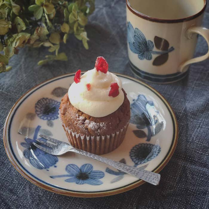 デザートプレート・ケーキプレート・パン皿・レトロ北欧柄・フラワー&オリーブ柄 サブイメージ