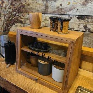 木製・ガラスショーケース・両面開き・キッチンラック・カフェ・coffee