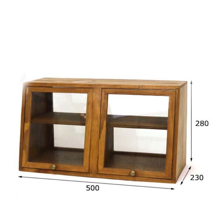 木製・ガラスショーケース・両面開き・キッチンラック・カフェ サブイメージ