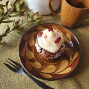 デザートプレート・ケーキ皿・取り皿・パン皿・レトロモダン・飴色・リーフ柄