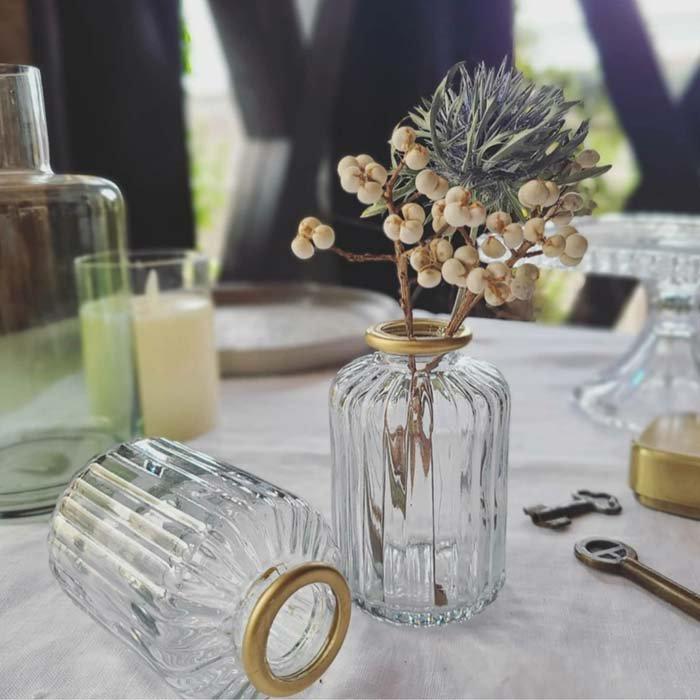 ゴールドリム・ボトル・ガラスフラワーベース メインイメージ
