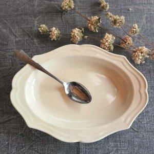 フレアオーバル・深皿プレート(L)・カレー・シチュー皿・器・アイボリー