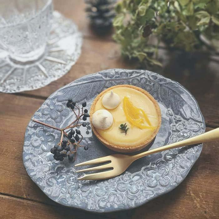 紫陽花・花柄・オーバル・デザートプレート・アンティークグレー・美濃焼 サブイメージ