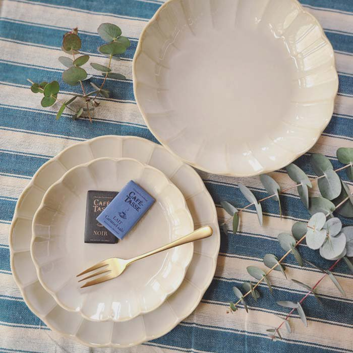 vintageフラワーシリーズ・花皿・アイボリー・カレー皿・パスタ皿・シチュー皿・深皿・プレート サブイメージ