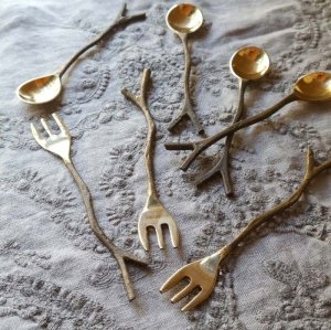 真鍮製・ブラス・スプーン・Sサイズ・フォーク・小枝スプーン&フォーク