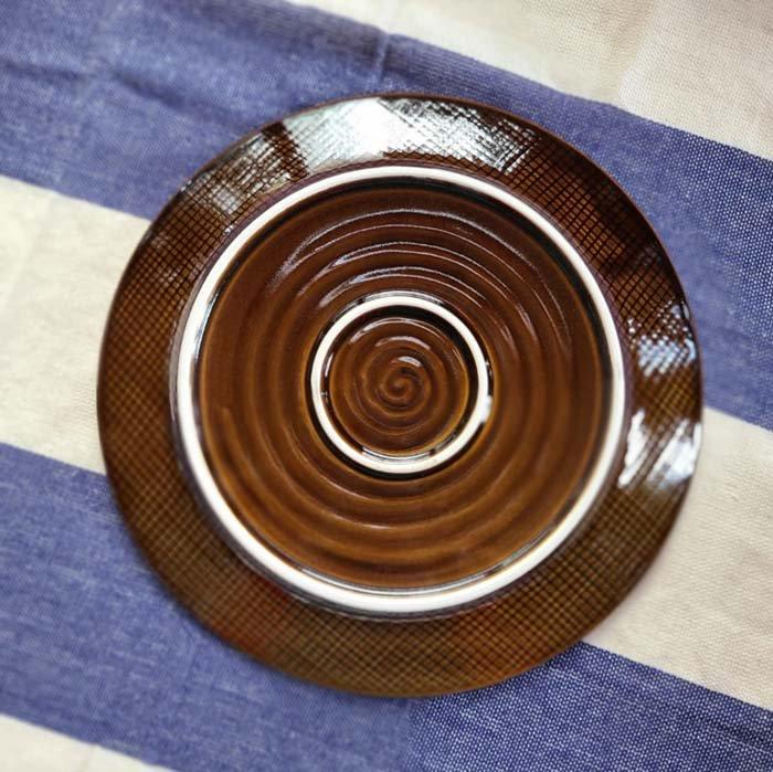 菊型・22cmプレート・ディナープレート・美濃焼・飴ブラウン サブイメージ